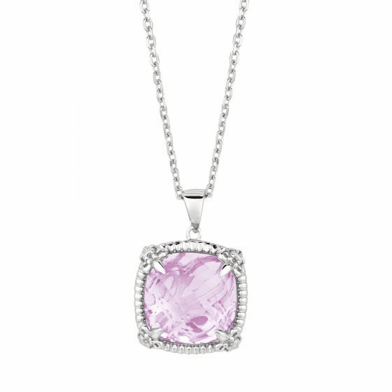 Silver Cushion Pink Amethyst/White Sapphire Pendant On 18 Inch Chain