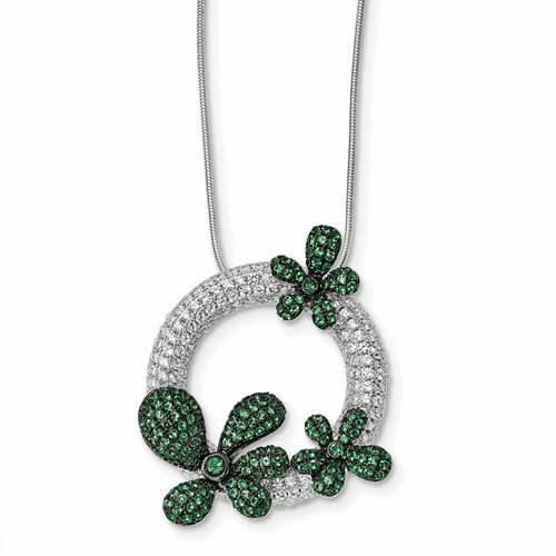 Silver & Cz Brilliant Embers Circle W/flowers Necklace