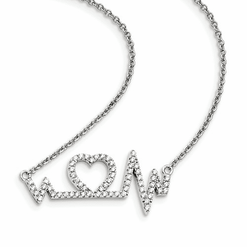 Silver & Cz Brilliant Embers Heart W/2in Ext. Necklace