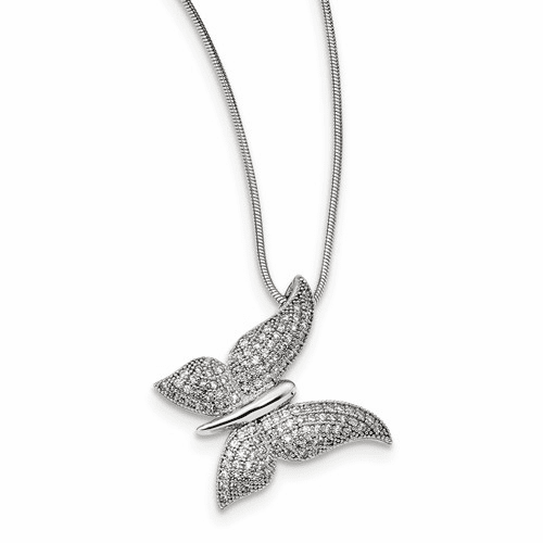 Silver & Cz Brilliant Embers Polished Butterfly Necklace