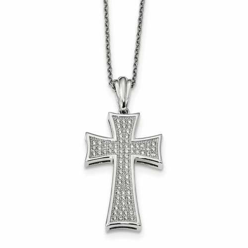 Silver & Cz Brilliant Embers Polished Cross Necklace