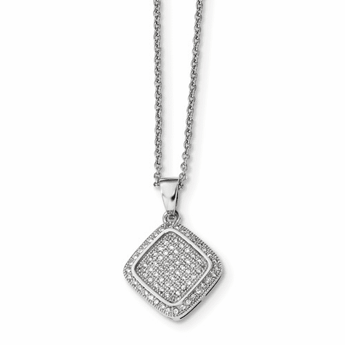 Silver & Cz Brilliant Embers Polished Fancy Necklace