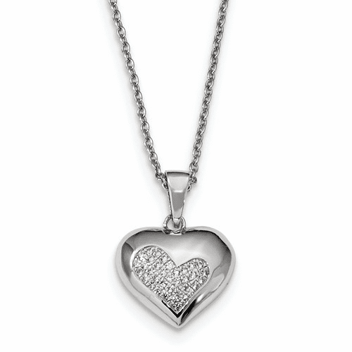 Silver & Cz Brilliant Embers Polished Heart Necklace