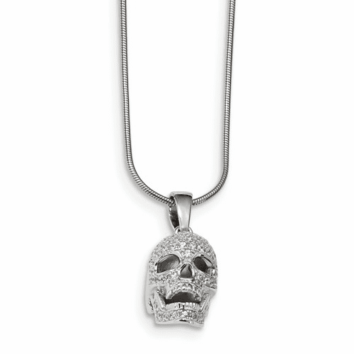 Silver & Cz Brilliant Embers Polished Skull Necklace