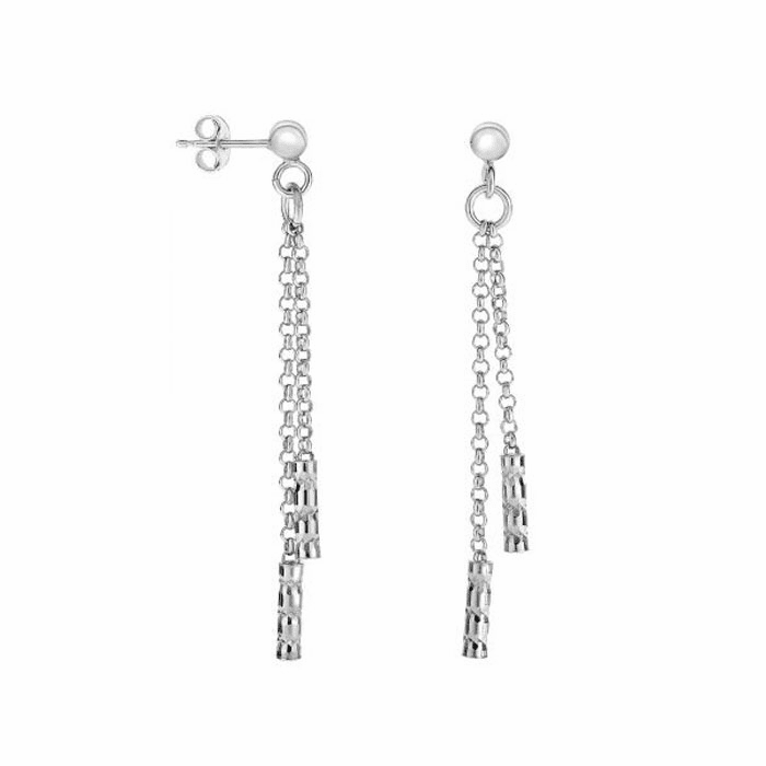Silver Diamond Cut Double Stranded Rolo Chain Drop Earring