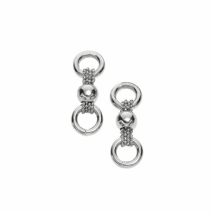 Silver Diamond Cut Moveable Ball Type Three Row Bead Link Earring