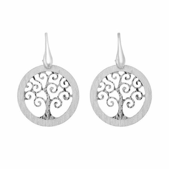 Silver Diamond Cut/Textured Round Tree of Life Earring with Hook Clasp
