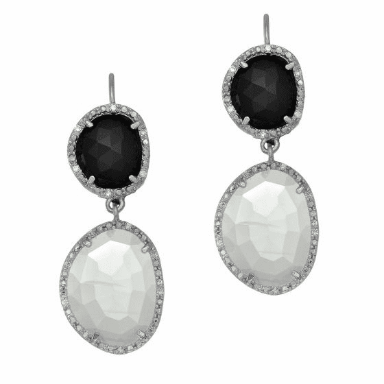Silver Double Black Onyx, Moonstone/Diamonds Drop Leverback Earrings
