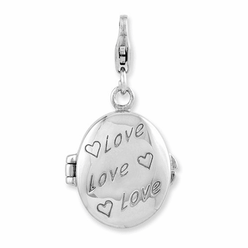 Silver Enameled Love Heart Compact W/lobster Clasp Charm