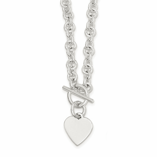 Silver Engraveable Heart Disc On Fancy Link Toggle Necklace QG1149-18