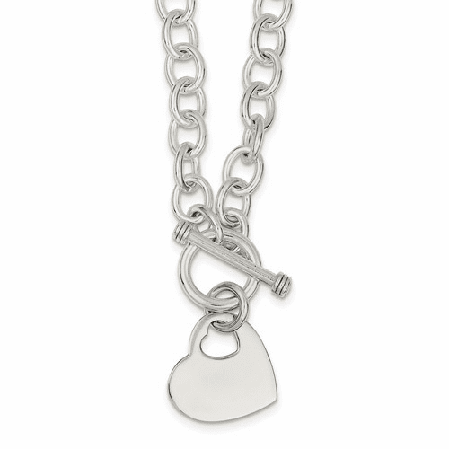 Silver Engraveable Heart Disc On Fancy Link Toggle Necklace QG1153-18