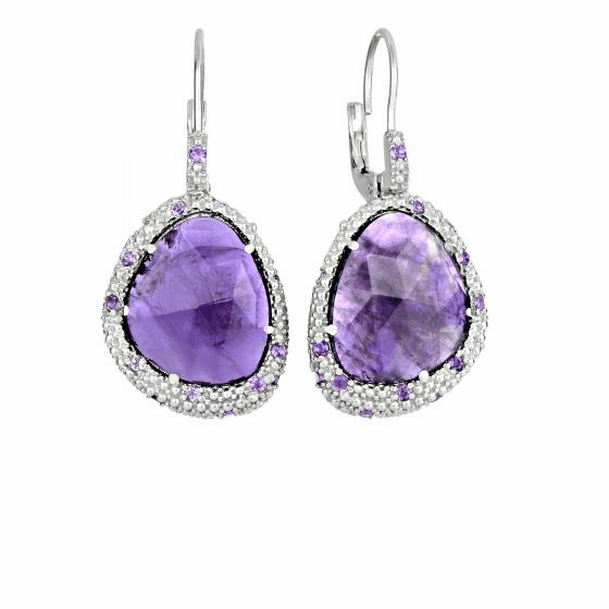 Silver Free Shape Popcorn Fancy Earrings & Amethyst