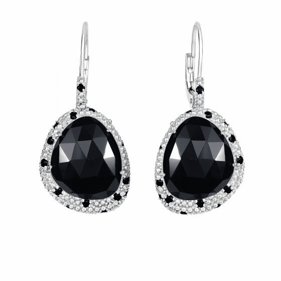 Silver Free Shape Popcorn Fancy Earrings, Black Onyx & Black Spinel