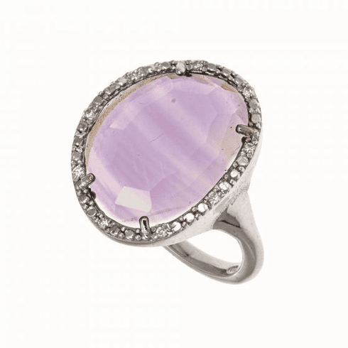 Silver Gem Candy Amethyst Ring with Diamond