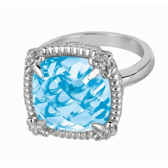Silver Gem Candy Large Cushion Blue Topaz and White Sapphires Ring