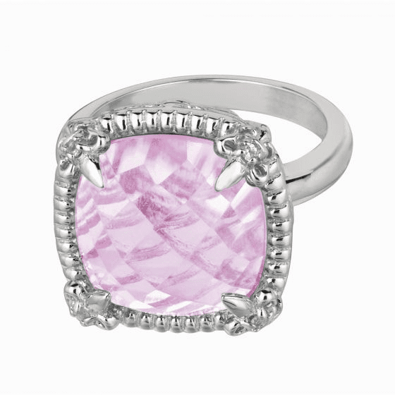 Silver Gem Candy Large Cushion Pink Amethyst and White Sapphires Ring