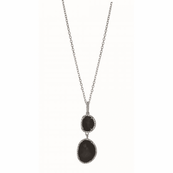 Silver Gem Candy Linked Necklace with Black Onyx and Diamonds