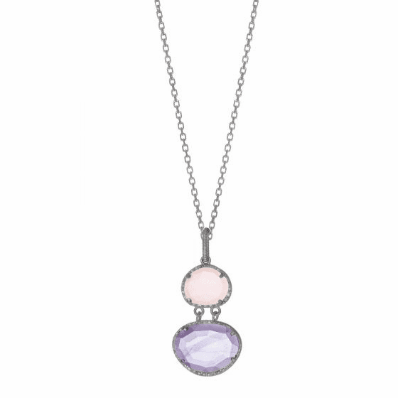 Silver Gem Candy Linked Pendant with Amethyst, Rose Quartz & Diamonds