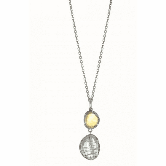 Silver Gem Candy Linked Pendant with Blue Topaz, Citrine & Diamonds