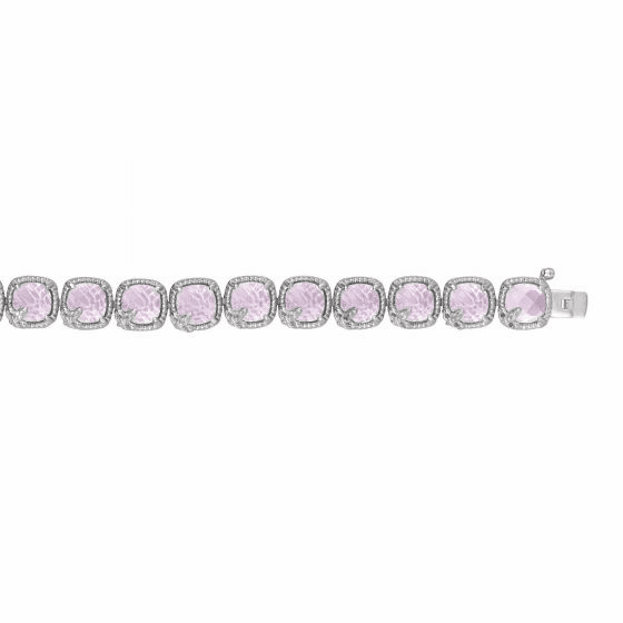 Silver Gem Candy Pink Amethyst,White Sapphire Stationed Bracelet