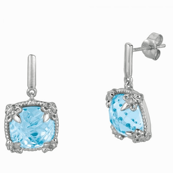 Silver Gem Candy Square Blue Topaz and White Sapphire Drop Earrings