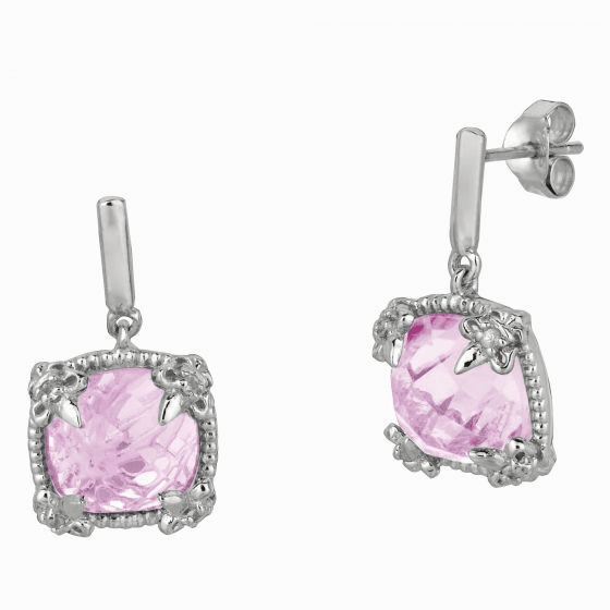 Silver Gem Candy Square Pink Amethyst & White Sapphire Drop Earrings