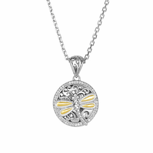Silver/Gold 14mm Dragonfly White Sapphires Pendant on 18 Inch Chain