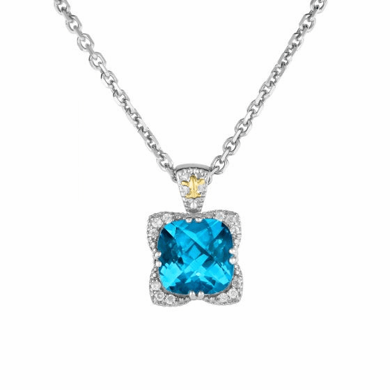 Silver/Gold Blue Topaz & Diamond Gem Candy Pendant on 18 Inch Chain