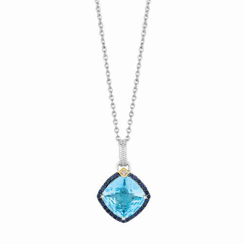 Silver/Gold Blue Topaz, Iolite & Diamond Drop Pendant on 18 Inch Chain