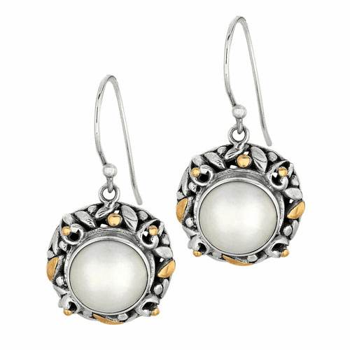 Silver/Gold Byzantine Bamboo Leaves White Pearl Round Drop Earrings