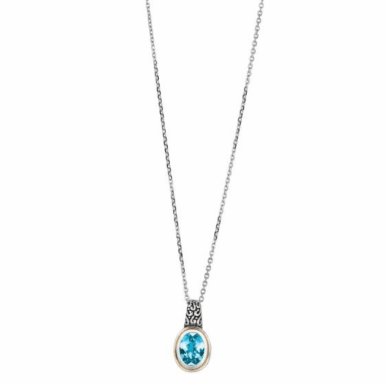 Silver/Gold Byzantine Oval Pendant with Blue Topaz On 18 Inch Chain