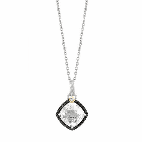 Silver/Gold Crystal Quartz & Diamond Drop Pendant on 18 Inch Chain