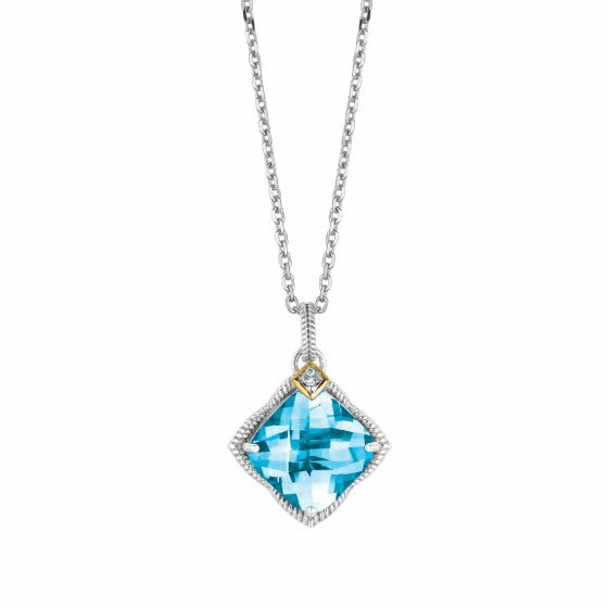Silver/Gold Gem Candy Blue Topaz & Diamond Pendant on 18 Inch Chain