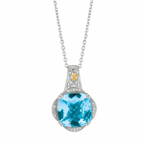 Silver/Gold Gem Candy Blue Topaz Pendant with Diamond on 18 Inch Chain