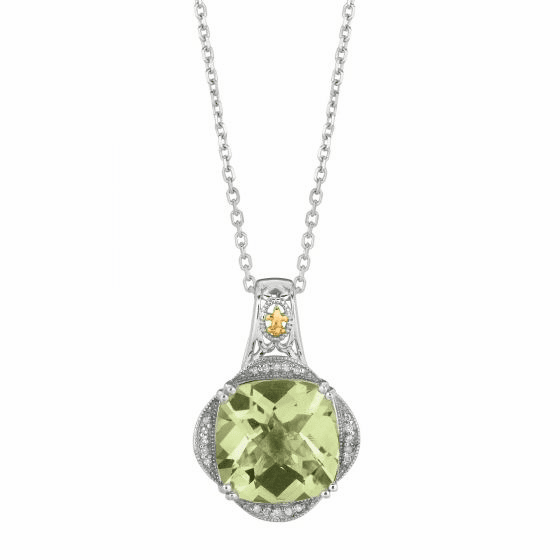 Silver/Gold Gem Candy Green Amethyst Diamond Pendant on 18 Inch Chain