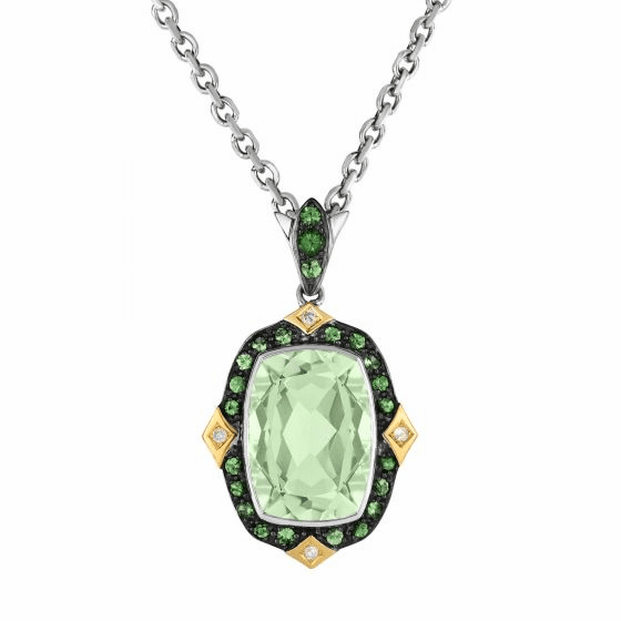 Silver/Gold Green Amethyst,Tsavorite & Diamond Pendant on 18Inch Chain