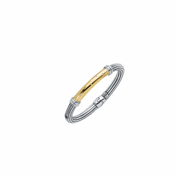 Silver/Gold Italian Cable Bangle with Spring Ring Clasp & Diamonds bar