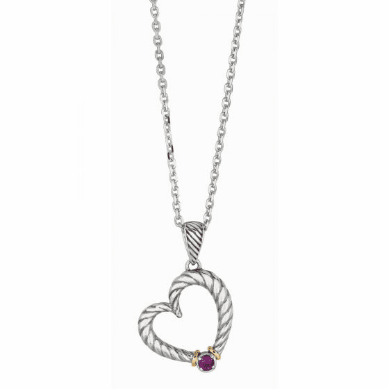 Silver/Gold Italian Cable Heart Amethyst Necklace on 18 Inch Chain