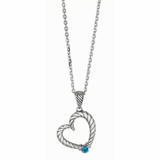 Silver/Gold Italian Cable Heart Blue Topaz Necklace on 18 Inch Chain