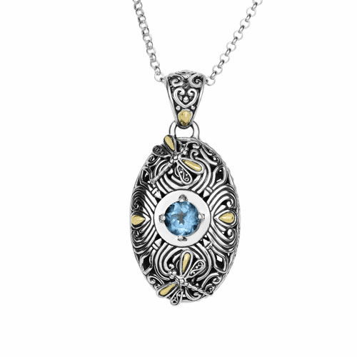 Silver/Gold Oval Dragonfly Curved Blue Topaz Pendant on 18 Inch Chain