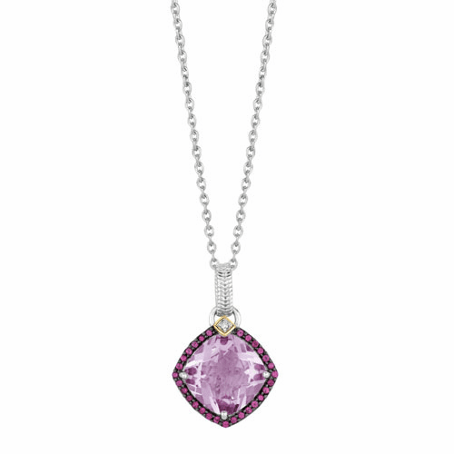 Silver/Gold Pink Amethyst,Rhodalite & Diamond Pendant on 18 Inch Chain