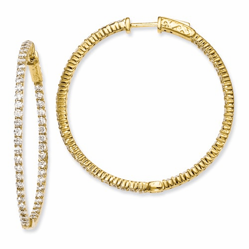 Silver Gold-plated 100 Stone Cz In And Out Hoop Earrings