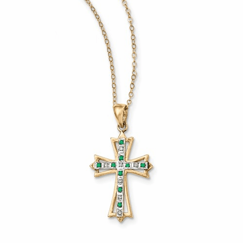 Silver & Gold-plated Dia. & Emerald 18in Cross Necklace