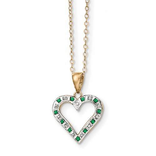 Silver & Gold-plated Dia. & Emerald 18in Heart Necklace