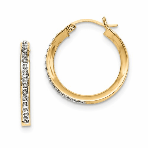 Silver Gold-plated Dia Mystique Round Hinged Hoop Earrings