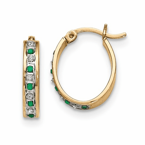 Silver & Gold-plated Diamond & Emerald Oval Hoop Earrings