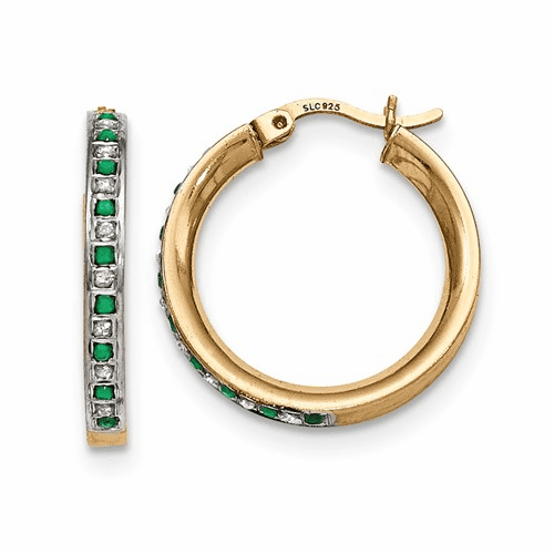 Silver & Gold-plated Diamond & Emerald Round Hoop Earrings