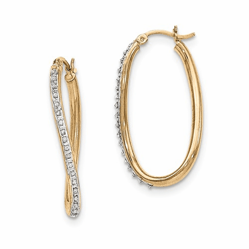 Silver & Gold-plated Diamond Mystique Oval Twist Hoop Earrings