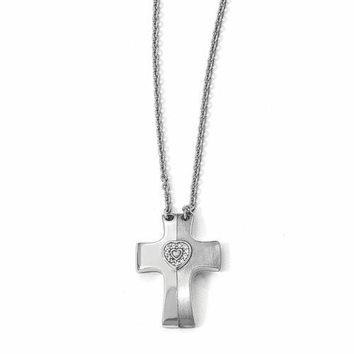 Silver Gold-plated Magnetic Cross W/heart Adjust.necklace QPA120