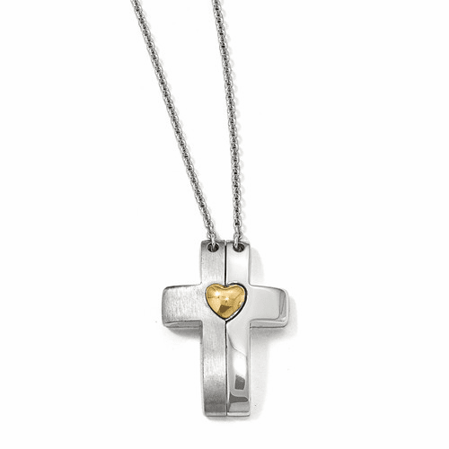 Silver Gold-plated Magnetic Cross W/ Heart Adjustable Necklace QPA118